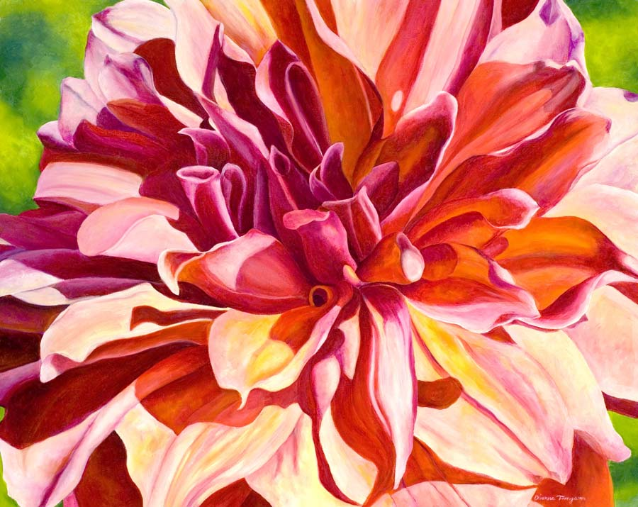 red dahlia painting