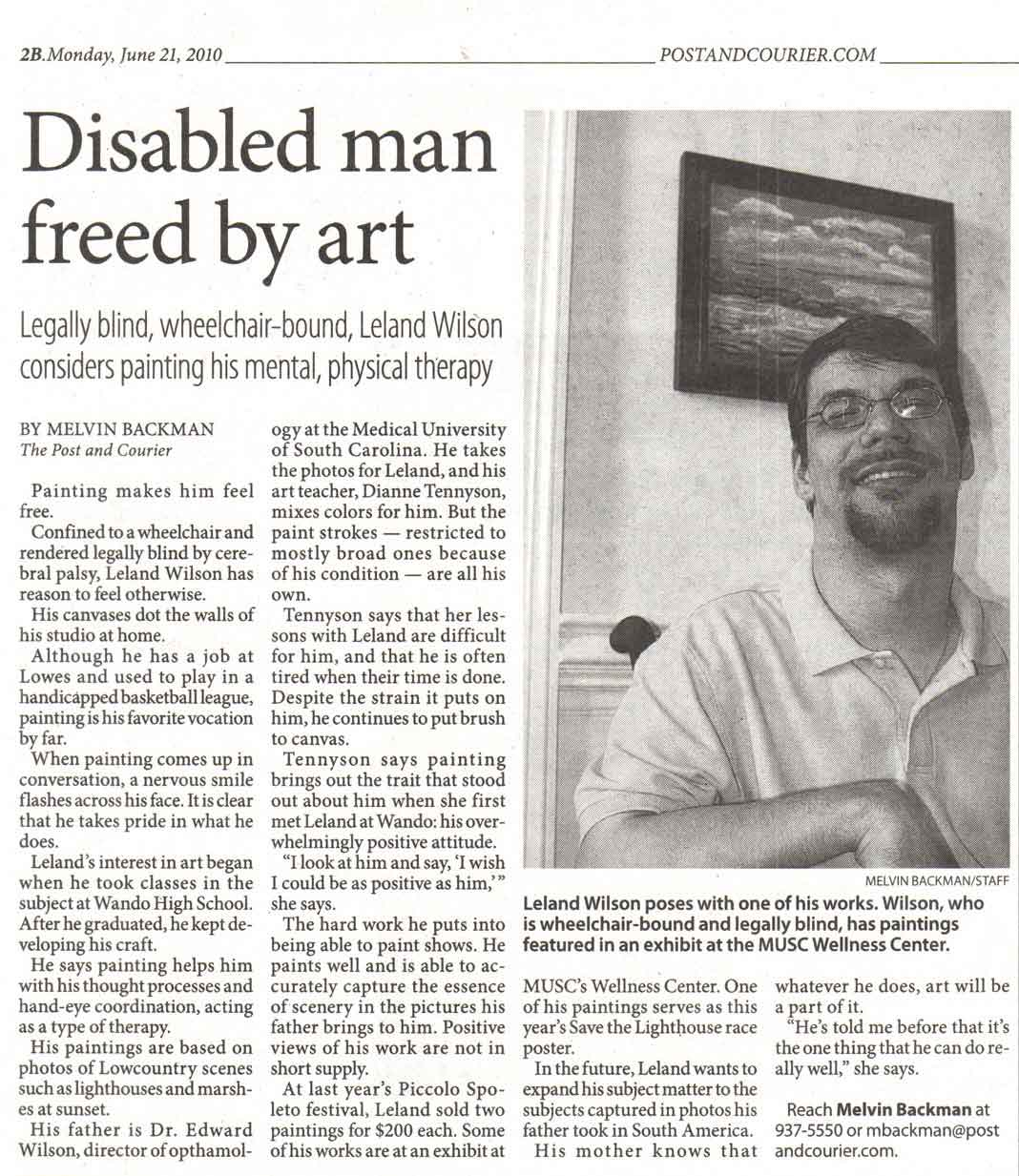 Disabled man freed by art