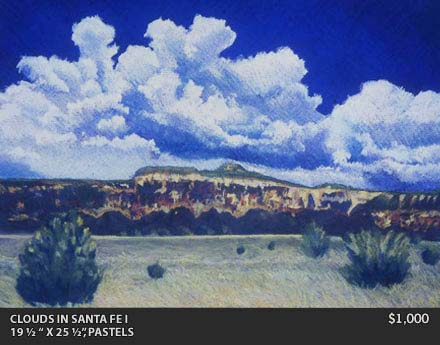 Clouds in Santa Fe painting
